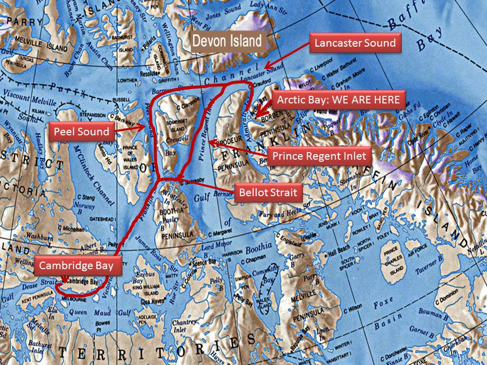 Map showing general features of the leg between Arctic Bay and Cambridge Bay and the two routes.